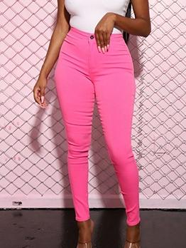 Pure Color High Waist Pencil Pants For Women