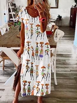 National Print Short Sleeve Maxi Dress Casual