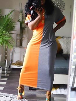 Contrast Color Crew Neck Short Sleeve Maxi Dress Casual