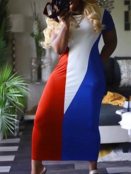 Colorblock Short Sleeve Maxi Dress For Women