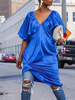 Backless Lantern Sleeve Blue Ladies Dress