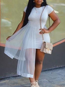 Irregular Gauze Patchwork White Short Sleeve Dress