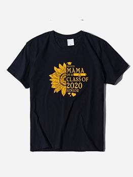 Simple Style Sunflower Print Short Sleeve Crew Neck T Shirt