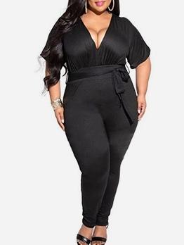 V Neck Tie-Wrap Short Sleeve Black Plus Size Jumpsuit
