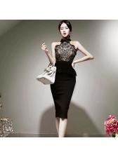 Turndown Collar Lace Patch Sleeveless Bodycon Dress