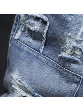 Summer Light Blue Mens Distressed Short Jeans