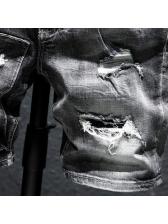 Summer Thin Loose Black Short Jeans For Men