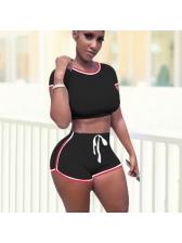 Contrast Trim Short Sleeve Womens Short Tracksuit Set