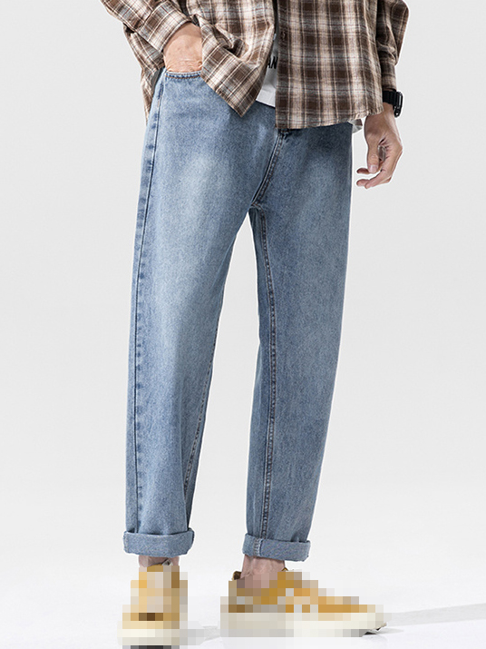 Loose Solid Straight Leg Mens Jeans