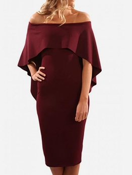 Bat Sleeve Solid Short Off The Shoulder Dress