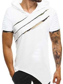 Casual Cutout Irregular Hem Hooded t Shirt