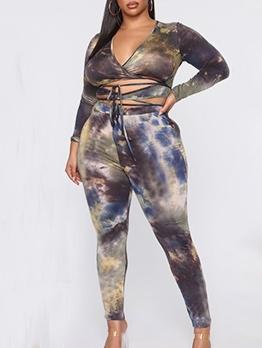 Plus Size Tie Dye Lace-Up Skinny Two Piece Pants Set