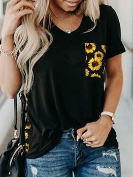 Sunflower Leopard Print Summer V Neck T Shirt