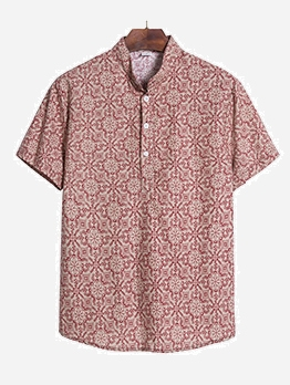 Retro Tribal Printed Short Sleeve Shirts For Men