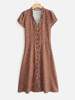 Stringy Selvedge Short Sleeve Polka Dot Midi Dress