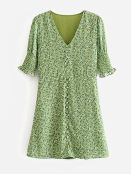 Summer V Neck Floral Green Short Dress