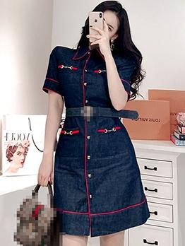 Stylish Turn-Down Collar Denim Short Sleeve Dress