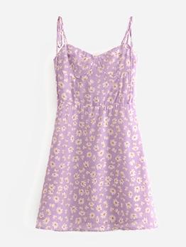 Romantic Style Daisy Print Purple Short Dress