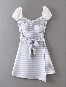 Stylish Patchwork Plaid Short Sleeve Dress