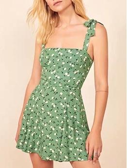 Slim Fit Ditsy Printed Slip Green Dress