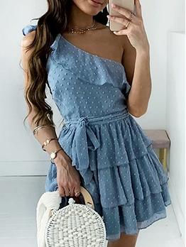 Inclined Shoulder Ruffled Dots Summer Dresses
