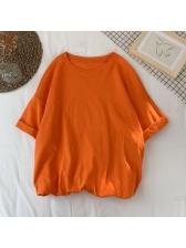 Simple Solid Crew Neck Plus Size t Shirt