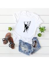 Finger Printing Summer Plus Size Cheap T Shirt
