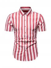 Stylish Striped Button Up Short Sleeve Shirt