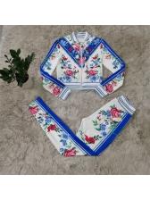 Stand Collar Zipper Flower Printed 2 Piece Pants Set