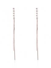 Chic Rhinestone Tassel Long Earrings