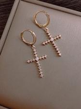 Round Rhinstone Decor Cross Earrings