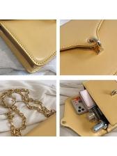 Golden Chain Rectangle Pure Color Women Shoulder Bags