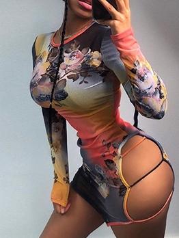 Sexy Cut Out Gauze Long Sleeve Print Dress