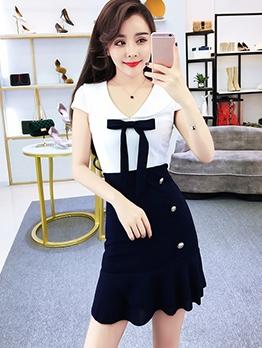 Contrast Color Short Sleeve A-Line Dress Casual