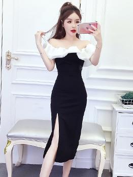 Contrast Color Split Hem Off The Shoulder Black Dress