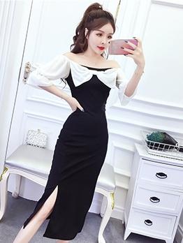 Bow Decor Off Shoulder Split Hem Midi Dress