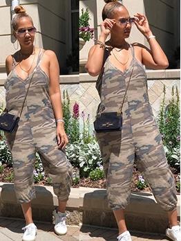 Casual V Neck Camouflage Sleeveless Jumpsuit