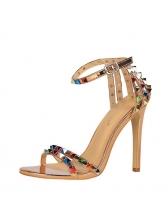 Ankle Strap Colorful Rivet High Heel Sandal