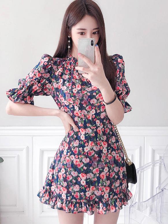 Graceful Floral Short Sleeve One Piece Dress