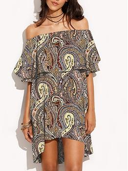 Loose Geometric Printed Off Shoulder Dress