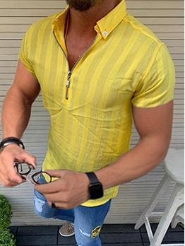 Leisure Striped Zipper Up Men Polo Shirts