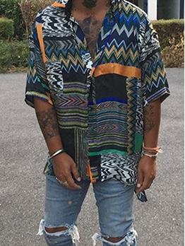 Retro Printed Loose Half Sleeve Men Shirt