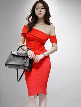 Elegant Solid Inclined Shoulder Bodycon Dress