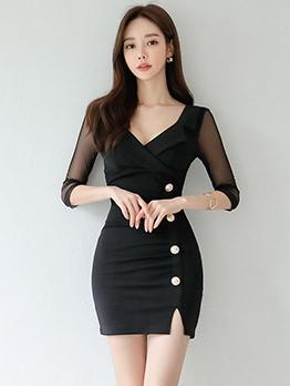 Elegant Gauze Patchwork Front Button Bodycon Dress