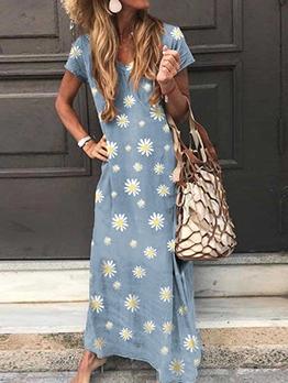 Leisure Daisy Printed Short Sleeve Summer Maxi Dresses