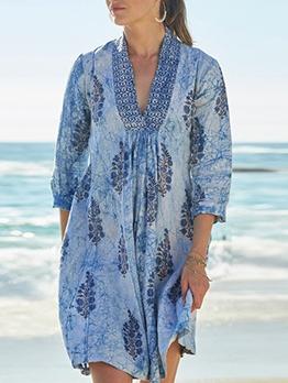 Leisure v Neck Printed Long Sleeve Dress