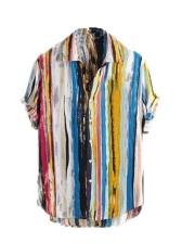 Color Striped Short Sleeve Men Cute Shirts