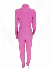 High Neck Long Sleeve Zipper Bodycon Jumpsuit