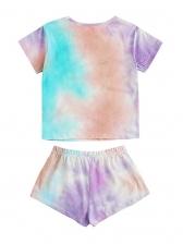 Casual Short Sleeve Tie Dye Two Piece Short Set