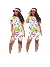 Multicolored Cartoon Printing Casual Two Piece Shorts Set